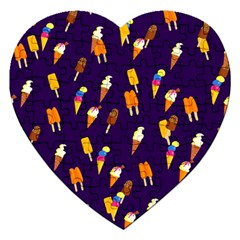 Seamless Ice Cream Pattern Jigsaw Puzzle (heart) by Nexatart