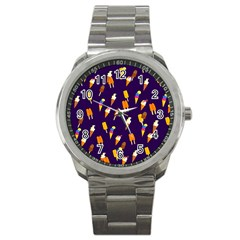 Seamless Ice Cream Pattern Sport Metal Watch by Nexatart