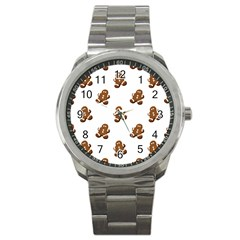 Gingerbread Seamless Pattern Sport Metal Watch by Nexatart