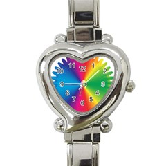 Rainbow Seal Re Imagined Heart Italian Charm Watch by Nexatart