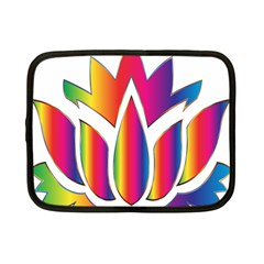 Rainbow Lotus Flower Silhouette Netbook Case (small)  by Nexatart