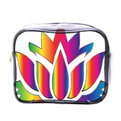 Rainbow Lotus Flower Silhouette Mini Toiletries Bags by Nexatart