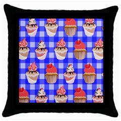 Cake Pattern Throw Pillow Case (black) by Nexatart