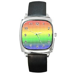 Rainbow Love Square Metal Watch