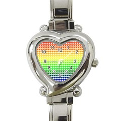 Rainbow Love Heart Italian Charm Watch by Nexatart