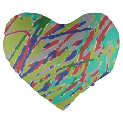 Crayon Texture Large 19  Premium Heart Shape Cushions by Nexatart