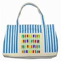 Popsicle Pattern Striped Blue Tote Bag by Nexatart