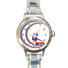 Rainbow Fairy Relaxing On The Rainbow Crescent Moon Round Italian Charm Watch by Nexatart
