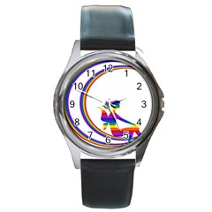 Rainbow Fairy Relaxing On The Rainbow Crescent Moon Round Metal Watch