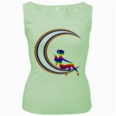Rainbow Fairy Relaxing On The Rainbow Crescent Moon Women s Green Tank Top