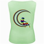 Rainbow Fairy Relaxing On The Rainbow Crescent Moon Women s Green Tank Top Back