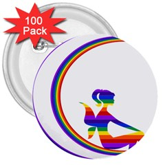 Rainbow Fairy Relaxing On The Rainbow Crescent Moon 3  Buttons (100 Pack)  by Nexatart
