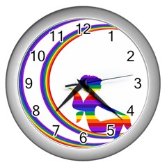 Rainbow Fairy Relaxing On The Rainbow Crescent Moon Wall Clocks (silver)  by Nexatart