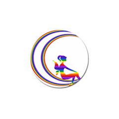 Rainbow Fairy Relaxing On The Rainbow Crescent Moon Golf Ball Marker (4 Pack) by Nexatart