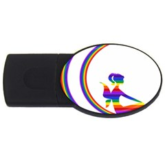 Rainbow Fairy Relaxing On The Rainbow Crescent Moon Usb Flash Drive Oval (2 Gb) by Nexatart