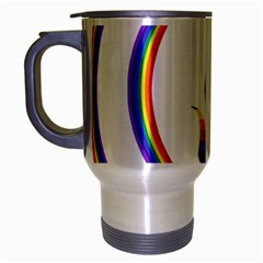 Rainbow Fairy Relaxing On The Rainbow Crescent Moon Travel Mug (silver Gray)