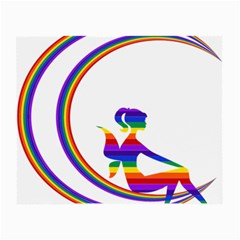 Rainbow Fairy Relaxing On The Rainbow Crescent Moon Small Glasses Cloth by Nexatart