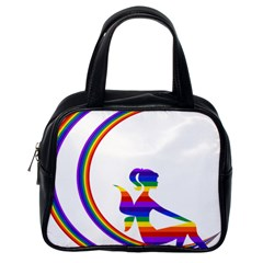 Rainbow Fairy Relaxing On The Rainbow Crescent Moon Classic Handbags (one Side) by Nexatart