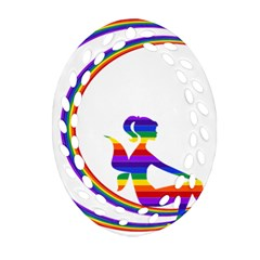 Rainbow Fairy Relaxing On The Rainbow Crescent Moon Ornament (oval Filigree) by Nexatart