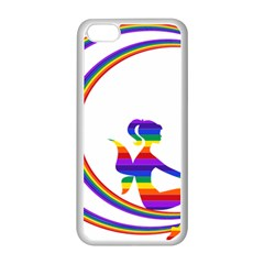 Rainbow Fairy Relaxing On The Rainbow Crescent Moon Apple Iphone 5c Seamless Case (white) by Nexatart
