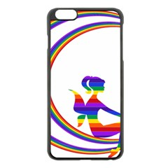 Rainbow Fairy Relaxing On The Rainbow Crescent Moon Apple Iphone 6 Plus/6s Plus Black Enamel Case by Nexatart