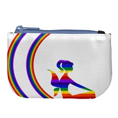 Rainbow Fairy Relaxing On The Rainbow Crescent Moon Large Coin Purse by Nexatart