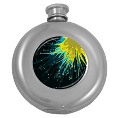 Big Bang Round Hip Flask (5 Oz) by ValentinaDesign