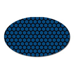 Blue Dark Navy Cobalt Royal Tardis Honeycomb Hexagon Oval Magnet by Mariart