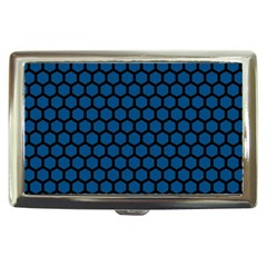 Blue Dark Navy Cobalt Royal Tardis Honeycomb Hexagon Cigarette Money Cases by Mariart