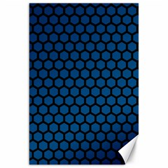 Blue Dark Navy Cobalt Royal Tardis Honeycomb Hexagon Canvas 20  X 30   by Mariart