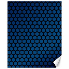 Blue Dark Navy Cobalt Royal Tardis Honeycomb Hexagon Canvas 11  X 14   by Mariart