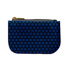 Blue Dark Navy Cobalt Royal Tardis Honeycomb Hexagon Mini Coin Purses by Mariart