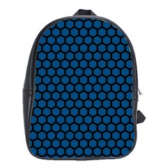 Blue Dark Navy Cobalt Royal Tardis Honeycomb Hexagon School Bags(large)