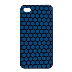 Blue Dark Navy Cobalt Royal Tardis Honeycomb Hexagon Apple Iphone 4/4s Seamless Case (black) by Mariart