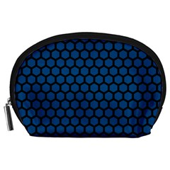 Blue Dark Navy Cobalt Royal Tardis Honeycomb Hexagon Accessory Pouches (large)  by Mariart