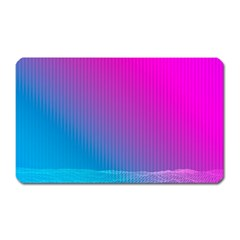 With Wireframe Terrain Modeling Fabric Wave Chevron Waves Pink Blue Magnet (rectangular)