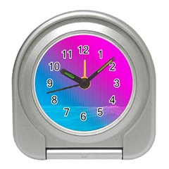 With Wireframe Terrain Modeling Fabric Wave Chevron Waves Pink Blue Travel Alarm Clocks