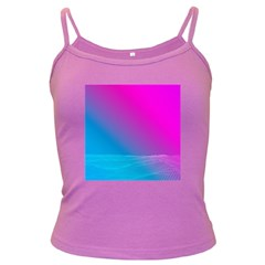 With Wireframe Terrain Modeling Fabric Wave Chevron Waves Pink Blue Dark Spaghetti Tank by Mariart