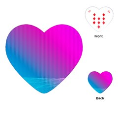 With Wireframe Terrain Modeling Fabric Wave Chevron Waves Pink Blue Playing Cards (heart)