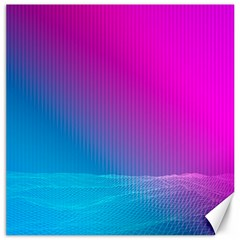 With Wireframe Terrain Modeling Fabric Wave Chevron Waves Pink Blue Canvas 20  X 20