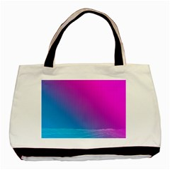 With Wireframe Terrain Modeling Fabric Wave Chevron Waves Pink Blue Basic Tote Bag (two Sides) by Mariart