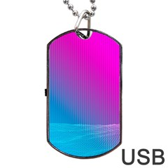 With Wireframe Terrain Modeling Fabric Wave Chevron Waves Pink Blue Dog Tag Usb Flash (two Sides) by Mariart