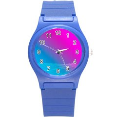 With Wireframe Terrain Modeling Fabric Wave Chevron Waves Pink Blue Round Plastic Sport Watch (s)