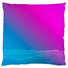 With Wireframe Terrain Modeling Fabric Wave Chevron Waves Pink Blue Large Cushion Case (one Side) by Mariart