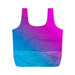 With Wireframe Terrain Modeling Fabric Wave Chevron Waves Pink Blue Full Print Recycle Bags (m)  by Mariart