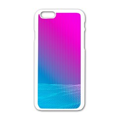 With Wireframe Terrain Modeling Fabric Wave Chevron Waves Pink Blue Apple Iphone 6/6s White Enamel Case by Mariart