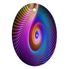 Abstract Fractal Bright Hole Wave Chevron Gold Purple Blue Green Ornament (oval) by Mariart