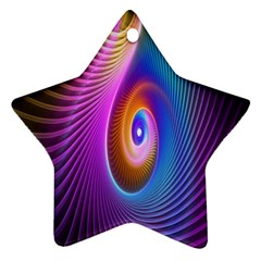 Abstract Fractal Bright Hole Wave Chevron Gold Purple Blue Green Ornament (star) by Mariart