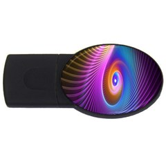 Abstract Fractal Bright Hole Wave Chevron Gold Purple Blue Green Usb Flash Drive Oval (2 Gb) by Mariart