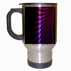 Abstract Fractal Bright Hole Wave Chevron Gold Purple Blue Green Travel Mug (silver Gray) by Mariart